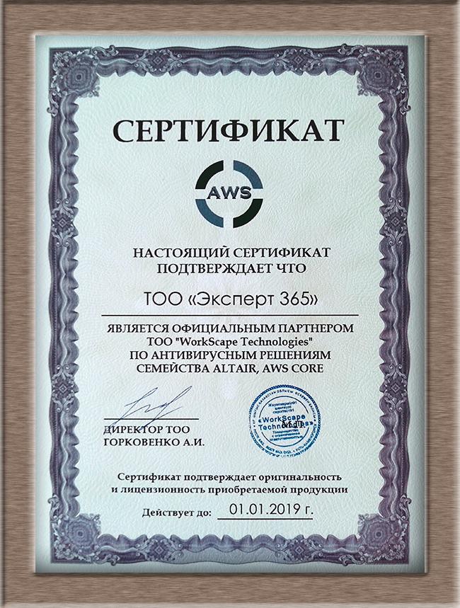 Сертификат AWS 2018