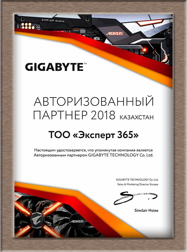 Сертификат Gigabyte 2018