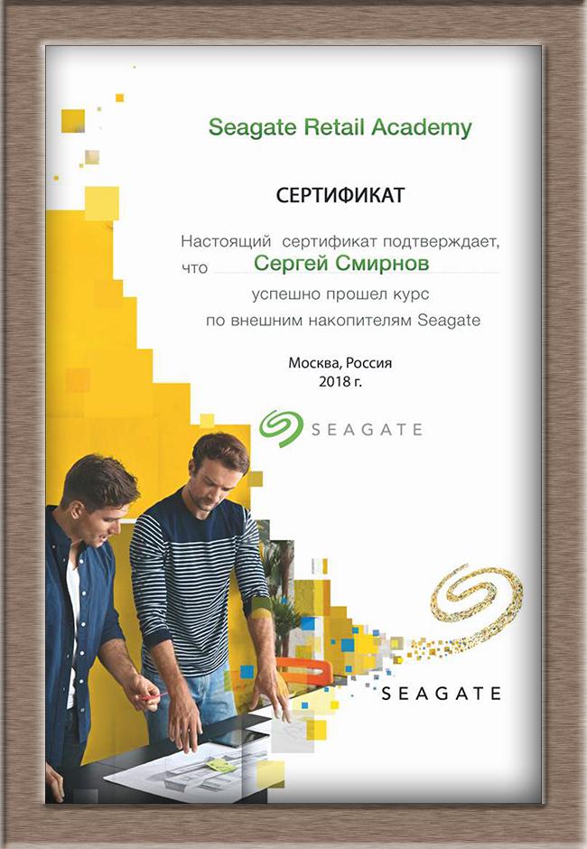 Сертификат Seagate 2018