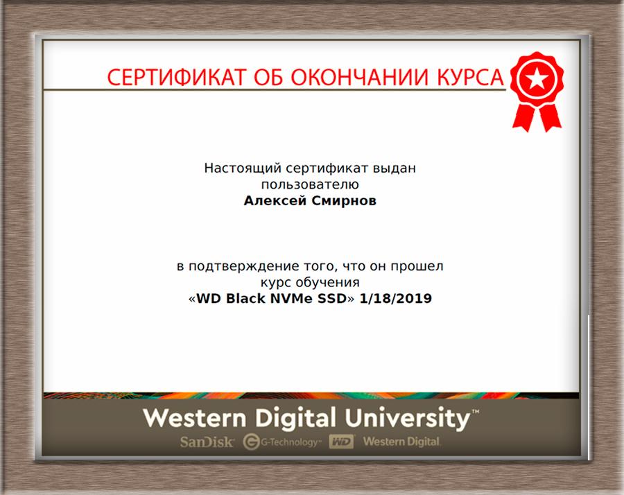 Сертификат WD 2019