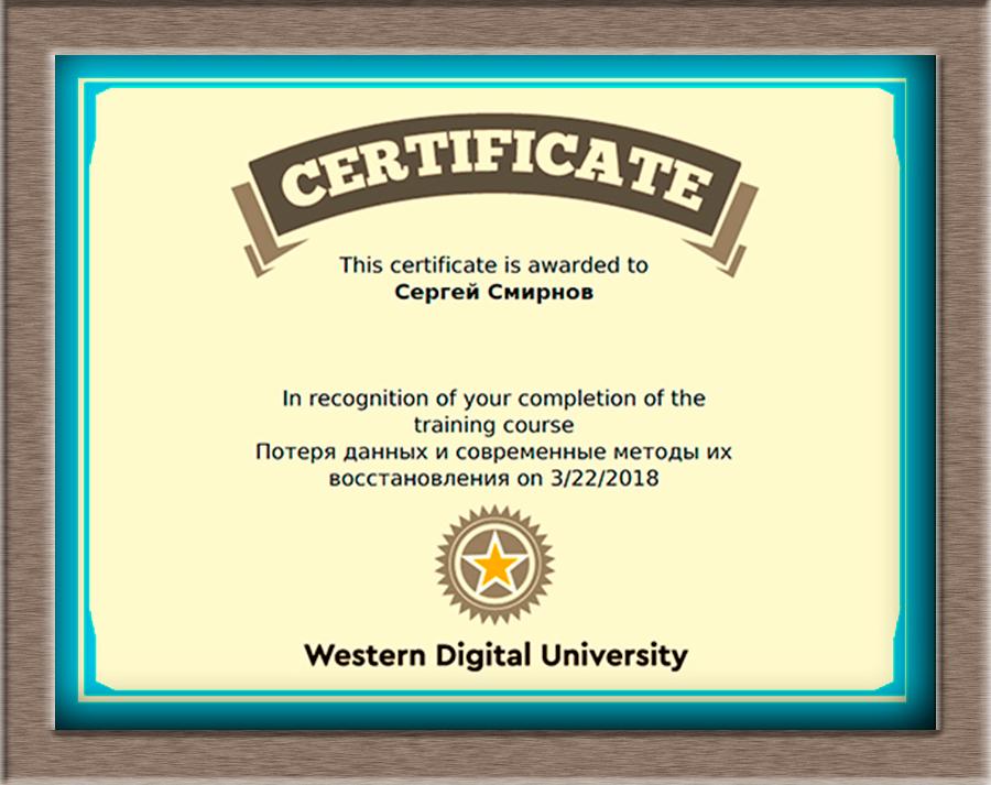 Сертификат WD 2018